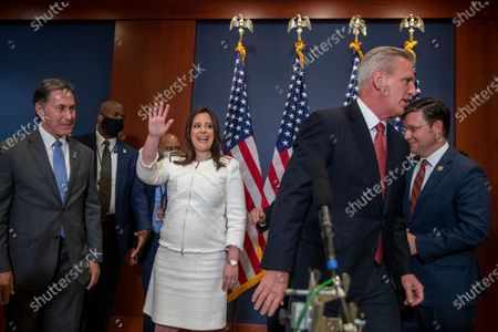 Republican Representative from New York Elise Stefanik, with House Minority Leader Kevin McCarthy (2-R), waves following a press conference to announce her election as House Republican Conference Chairman in the US Capitol in Washington, DC, USA, 14 May 2021. Representative Stefanik replaces Republican Representative from Wyoming Liz Cheney following her ouster from the party's leadership.