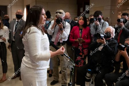 Representative from New York Elise Stefanik (C) speaks to members of the news media after she was elected to the House GOP Conference Chair position, in the US Capitol in Washington, DC, USA, 14 May 2021. Republican House Minority Leader Kevin McCarthy led the effort to elect Representative from New York Elise Stefanik after Republican Representative from Wyoming Liz Cheney was removed from the position.