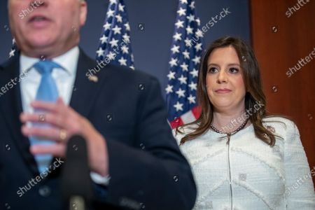 Republican Representative from New York Elise Stefanik listens as House Minority Whip Steve Scalise delivers remarks following her election to be House Republican Conference Chairman in the US Capitol in Washington, DC, USA, 14 May 2021. Representative Stefanik replaces Republican Representative from Wyoming Liz Cheney following her ouster from the party's leadership.