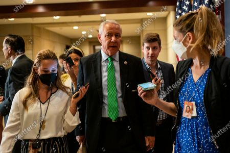 Rep. Ken Buck (R-CO) speaks with members of the media after casting his vote in the GOP Conference Chair election on Capitol Hill on Friday, May 14, 2021 in Washington, DC. House Republicans formally selected Rep. Elise Stefanik (R-NY) Friday to replace Rep. Liz Cheney (R-WY). (Kent Nishimura / Los Angeles Times)