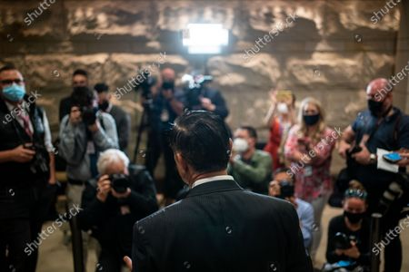 Rep. Darrell Issa (R-CA) speaks to members of the media after casting his vote in GOP Conference Chair election on Capitol Hill on Friday, May 14, 2021 in Washington, DC. House Republicans formally selected Rep. Elise Stefanik (R-NY) Friday to replace Rep. Liz Cheney (R-WY). (Kent Nishimura / Los Angeles Times)