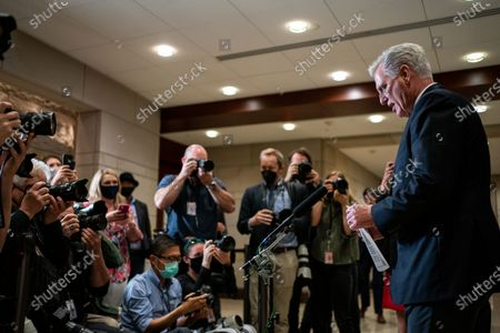 House Minority Leader Kevin McCarthy speaks during a news conference after the GOP Conference Chair election on Capitol Hill on Friday, May 14, 2021 in Washington, DC. House Republicans formally selected Rep. Elise Stefanik (R-NY) Friday to replace Rep. Liz Cheney (R-WY). (Kent Nishimura / Los Angeles Times)