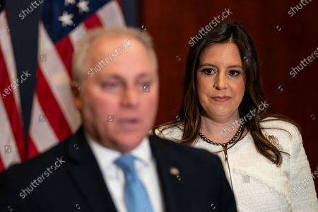 Rep. Elise Stefanik (R-NY) the newly elected GOP Conference Chair listens as House Minority Whip Steve Scalise speaks during a news conference after the GOP Conference Chair election on Capitol Hill on Friday, May 14, 2021 in Washington, DC. House Republicans formally selected Rep. Elise Stefanik (R-NY) Friday to replace Rep. Liz Cheney (R-WY). (Kent Nishimura / Los Angeles Times)
