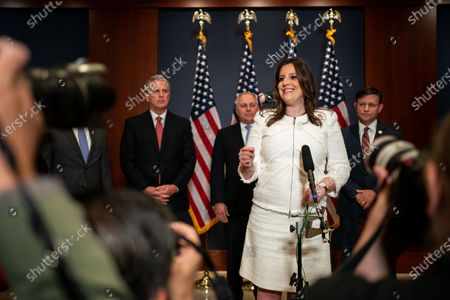 Rep. Elise Stefanik (R-NY) speaks during a news conference after the GOP Conference Chair election on Capitol Hill on Friday, May 14, 2021 in Washington, DC. House Republicans formally selected Rep. Elise Stefanik (R-NY) Friday to replace Rep. Liz Cheney (R-WY). (Kent Nishimura / Los Angeles Times)