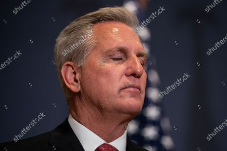 House Minority Leader Kevin McCarthy listens during news conference after the GOP Conference Chair election on Capitol Hill on Friday, May 14, 2021 in Washington, DC. House Republicans formally selected Rep. Elise Stefanik (R-NY) Friday to replace Rep. Liz Cheney (R-WY). (Kent Nishimura / Los Angeles Times)