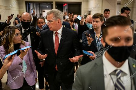 Stock Photo of House Minority Leader Kevin McCarthy speaks with a gaggle or reporters after a news conference after the GOP Conference Chair election on Capitol Hill on Friday, May 14, 2021 in Washington, DC. House Republicans formally selected Rep. Elise Stefanik (R-NY) Friday to replace Rep. Liz Cheney (R-WY). (Kent Nishimura / Los Angeles Times)