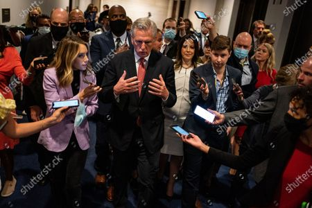 Stock Image of House Minority Leader Kevin McCarthy speaks with a gaggle or reporters after a news conference after the GOP Conference Chair election on Capitol Hill on Friday, May 14, 2021 in Washington, DC. House Republicans formally selected Rep. Elise Stefanik (R-NY) Friday to replace Rep. Liz Cheney (R-WY). (Kent Nishimura / Los Angeles Times)