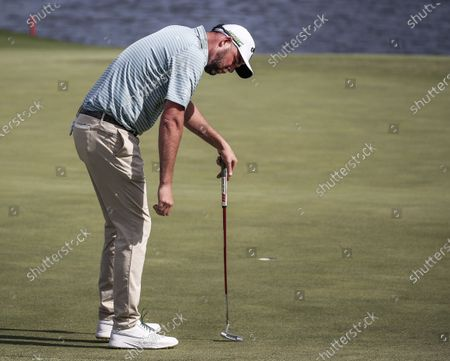 Marc Leishman of Australia reacts as he sinks a birdie putt on the fifteenth green during the second round of the AT&T Byron Nelson golf tournament at TPC Craig Ranch in McKinney, Texas, USA, 14 May 2021. The tournament is being played 13 May through 16 May.