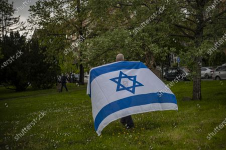 Editorial photo of Palestine solidarity protest in Prague, Czech Republic - 14 May 2021