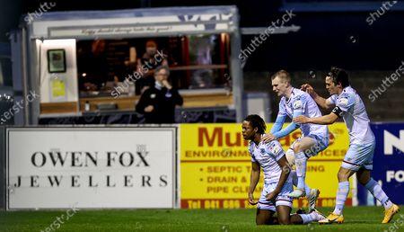 Drogheda United vs St. Patrick's Athletic. Drogheda's Jordan Adeyemo celebrates scoring their third goal with teammates