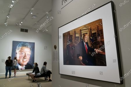 Photograph of former President Donald Trump by Pari Dukovic hangs in the America's Presidents exhibition at the Smithsonian's National Portrait Gallery in Washington