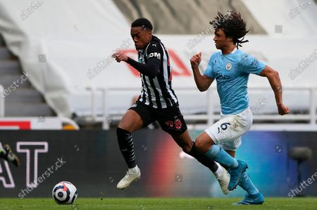 Stock Picture of Newcastle's Joe Willock (L) in action against Manchester City's Nathan Ake (R) during the English Premier League soccer match between Newcastle United and Manchester City in Newcastle, Britain, 14 May 2021.
