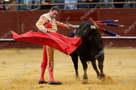 Spanish bullfighter Enrique Ponce in action during a bullfight on occasion of the St Isidro Fair held at Vistalegre bullfighting arena, in Madrid, central Spain, 14 May 2021.