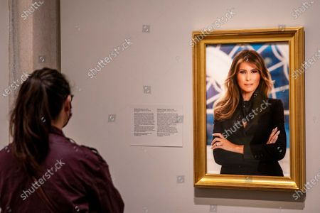 "Guests take in the National Portrait Gallery as it opened up today in Washington, DC on Friday, May 14, 2021. A photograph of former first lady Melania Trump will greet visitors to the National Portrait Gallery's ""America's Presidents"" when it opened Friday morning.    Photo by Tasos Katopodis/UPI"