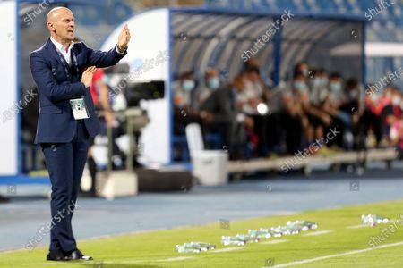 Al-Batin's coach Aleksandar Veselinovic gestures during the Saudi Professional League soccer match between Al-Hilal and Al-Batin at Prince Faisal Bin Fahd Stadium, Riyadh, Saudi Arabia, 14 May 2021.
