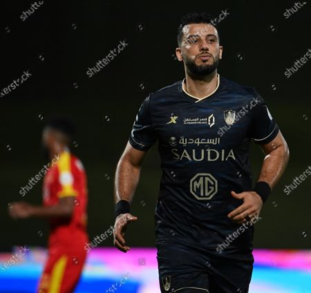 Stock Image of Al-Ahli's player Omar Al-Somah reacts during the Saudi Professional League soccer match between Al-Ahli and Al-Qadisiyah at Sport Hall Stadium in King Abdullah Sport City, Jeddah, Saudi Arabia, 14 May 2021.