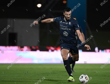 Stock Photo of Al-Ahli's player Omar Al-Somah in action during the Saudi Professional League soccer match between Al-Ahli and Al-Qadisiyah at Sport Hall Stadium in King Abdullah Sport City, Jeddah, Saudi Arabia, 14 May 2021.