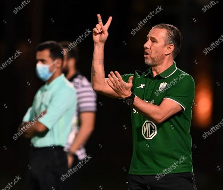 Al-Ahli's coach Laurentiu Reghecampf gestures during the Saudi Professional League soccer match between Al-Ahli and Al-Qadisiyah at Sport Hall Stadium in King Abdullah Sport City, Jeddah, Saudi Arabia, 14 May 2021.
