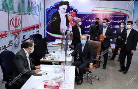 Former Iranian parliament speaker Ali Larijani registers his candidacy for the post of President of Iran, at the Interior Ministry in Tehran, Iran, 15 May 2021. Iran will hold its presidential election on 18 June 2021.
