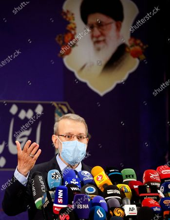 Former Iranian parliament speaker Ali Larijani speaks during a press conference after registering his candidacy for the post of President of Iran, at the Interior Ministry in Tehran, Iran, 15 May 2021. Iran will hold its presidential election on 18 June 2021.