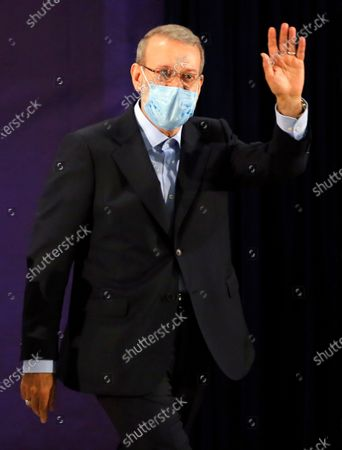Former Iranian parliament speaker Ali Larijani gestures during a press conference after registering his candidacy for the post of President of Iran, at the Interior Ministry in Tehran, Iran, 15 May 2021. Iran will hold its presidential election on 18 June 2021.