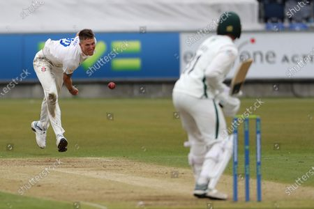 Stock Picture of Durham's Brydon Carse bowling to Worcesterhire's Charlie Morris during the LV= County Championship match between Durham County Cricket Club and Worcestershire at Emirates Riverside, Chester le Street, UK, on 14th May 2021.