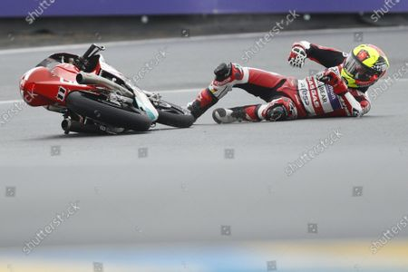 Spanish Moto3 rider Sergio Garcia of Gaviota GASGAS Aspar Team falls during the third free practice session for the French Motorcycling Grand Prix in Le Mans, France, 15 May 2021.