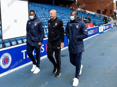Rangers Midfielder Joe Aribo, Rangers Assistant Manager Gary McAllister and Rangers Midfielder Glen Kamara walk around the pitch before kick off