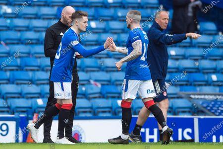 Scott Wright of Rangers replaces Ryan Kent during the Scottish Premiership match at Ibrox Stadium, Glasgow.
