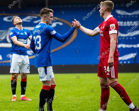 Scott Wright of Rangers celebrates at the end of the Scottish Premiership match at Ibrox Stadium.