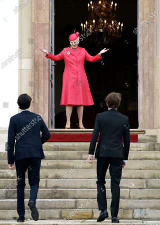 Denmark's Queen Margrethe II (C) greets Prince Nikolai (L) and Prince Felix as they arrive to Prince Christian's confirmation at Fredensborg Castle Church, in Fredensborg, Denmark, 15 May 2021. The ceremony is private with only 25 guests and presided by the Royal Confessor, Bishop Wigh-Poulsen. 15-year-old Prince Christian is the eldest child of Crown Prince Frederik and Crown Princess Mary.