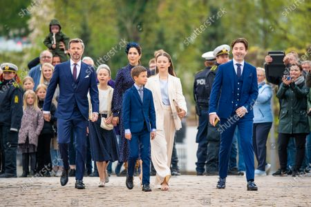 Crown Prince Frederik, Crown Princess Mary, with their children Prince Christian, Princess Isabella, Prince Vincent and Princess Josephine during Prince Christian's confirmation