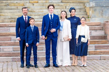 Crown Prince Frederik, Crown Princess Mary, with their children Prince Christian, Princess Isabella, Prince Vincent and Princess Josephine during Prince Christian's confirmation at Fredensborg Palace Church in Denmark.