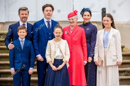 Queen Margarethe, Crown Prince Frederik, Crown Princess Mary, with their children Prince Christian, Princess Isabella, Prince Vincent and Princess Josephine