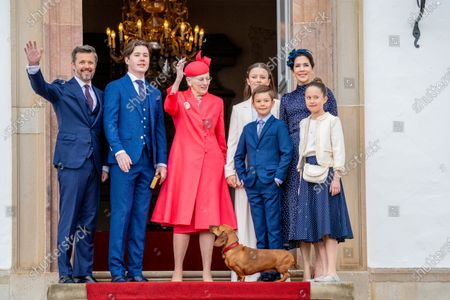 Queen Margarethe of Denmark with Crown Prince Frederik, Crown Princess Mary, with their children Prince Christian, Princess Isabella, Prince Vincent and Princess Josephine during Prince Christian's confirmation at Fredensborg Palace Church in Denmark.