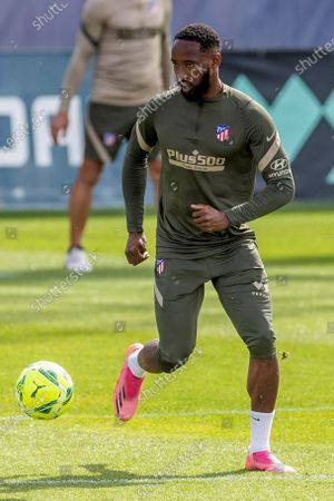 Atletico de Madrid French forward Moussa Dembele attends the team's training session hel at Wanda Sports City in Majadahonda, Madrid, Spain, 15 May 2021. Atletico de Madrid is facing Osasuna in a Spanish LaLiga soccer match on 16 May 2021.