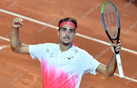 Lorenzo Sonego of Italy reacts during his men's singles semi final match against Novak Djokovic of Serbia at the Italian Open tennis tournament in Rome, Italy, 15 May 2021.