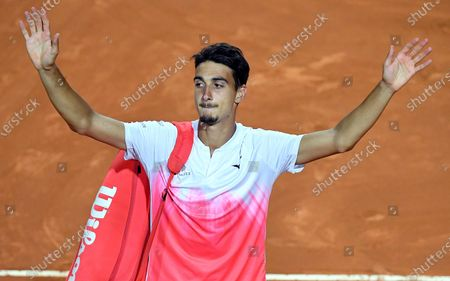 Lorenzo Sonego of Italy reacts after his men's singles semi final match against Novak Djokovic of Serbia at the Italian Open tennis tournament in Rome, Italy, 15 May 2021.