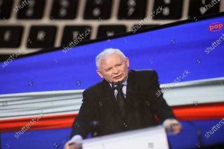 A photo taken from a webcast shows leader of the Law and Justice (PiS) ruling party Jaroslaw Kaczynski during the presentation of the new program of the ruling Law and Justice party, in Warsaw, Poland, 15 May 2021. The leaders of the United Right signed a program declaration, the so-called 'New Deal plan', which in the post-pandemic period foresees more health spending and a bigger tax-free quota, Poland's ruling party Law and Justice (PiS) said at the plan's presentation.