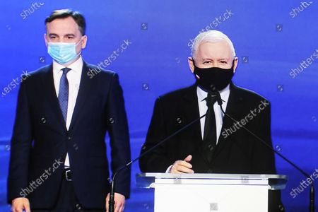 A photo taken from a webcast shows Leader of the Law and Justice (PiS) ruling party Jaroslaw Kaczynski (R) and Polish Justice Minister and General Prosecutor Zbigniew Ziobro (L) during the presentation of the new program of the ruling Law and Justice party, in Warsaw, Poland, 15 May 2021. The leaders of the United Right signed a program declaration, the so-called 'New Deal plan', which in the post-pandemic period foresees more health spending and a bigger tax-free quota, Poland's ruling party Law and Justice (PiS) said at the plan's presentation.