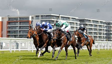 Stock Image of DUKEBOX (left, Ryan Moore) beats DAIRERIN (centre) in ThBetVictor Conditions Stakes Newbury