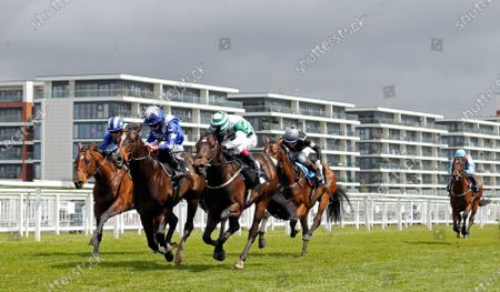 Stock Photo of DUKEBOX (2nd left, Ryan Moore) beats DAIRERIN (centre) in ThBetVictor Conditions Stakes Newbury