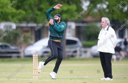 Editorial image of Monty Panesar, Twickenham CC 1st XI v Teddington CC 1st XV, Middlesex County Cricket League - 1st XI Premier Division, Twickenham Green, London, UK - 15 May 2021