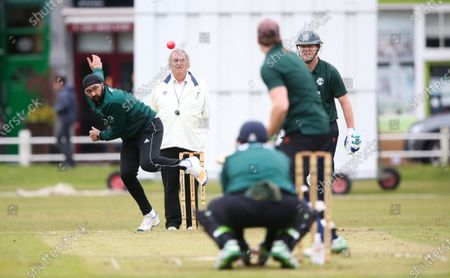 Stock Picture of Ex-England International cricketer Monty Panesar playing for Twickenham Cricket Club while he studies for an MA in Sports Journalism at St Mary's University College, Twickenham. Bowling