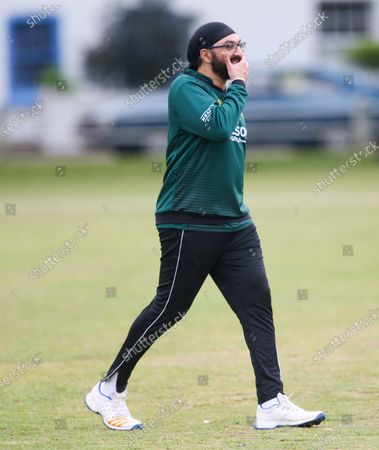 Ex-England International cricketer Monty Panesar playing for Twickenham Cricket Club while he studies for an MA in Sports Journalism at St Mary's University College, Twickenham.