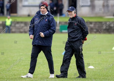 Louth vs Antrim. Assistant coach Gavin Devlin with manager Mickey Harte