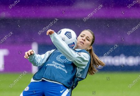 Chelsea's Jamie-Lee Napier in action during a training session on the eve of the UEFA Women's Champions League final between Chelsea FC and FC Barcelona in Gothenburg, Sweden, on May 15, 2021.