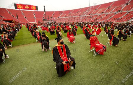 Editorial picture of USC's 2021 Commencement at the Los Angeles Memorial Coliseum Friday May 14, 2021, Memorial Coliseum, Los Angeles, California - 14 May 2021