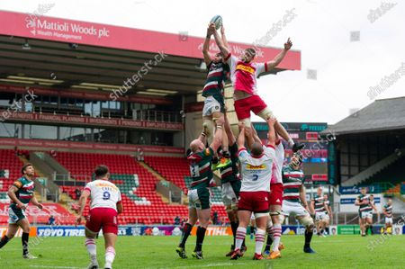 George Martin of Leicester Tigers wins the ball at a lineout