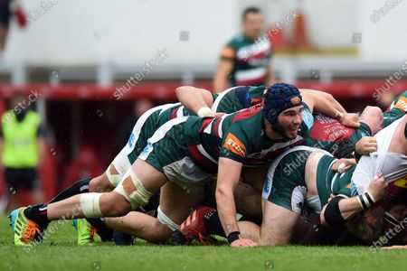 George Martin of Leicester Tigers looks on at a scrum